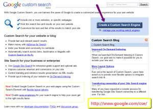 Google Custom Search  Engine start page